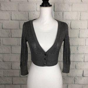 White House black market knit shrug shimmer XS